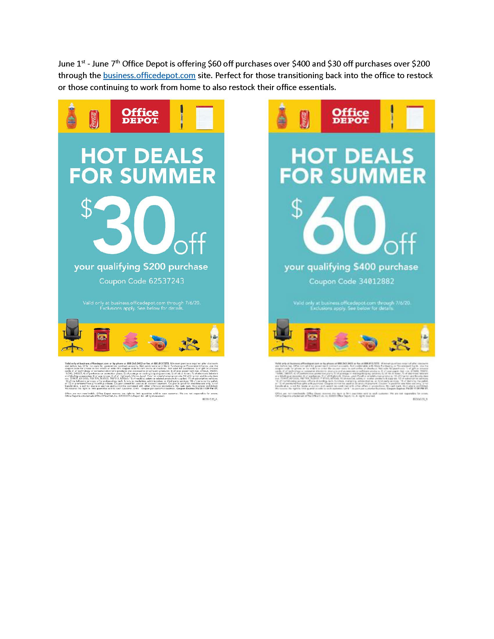 Office Depot Summer Coupons